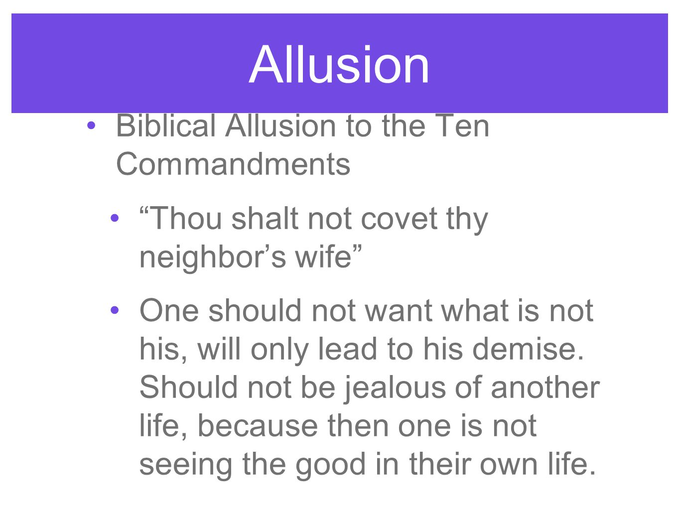Allusion Biblical Allusion to the Ten Commandments