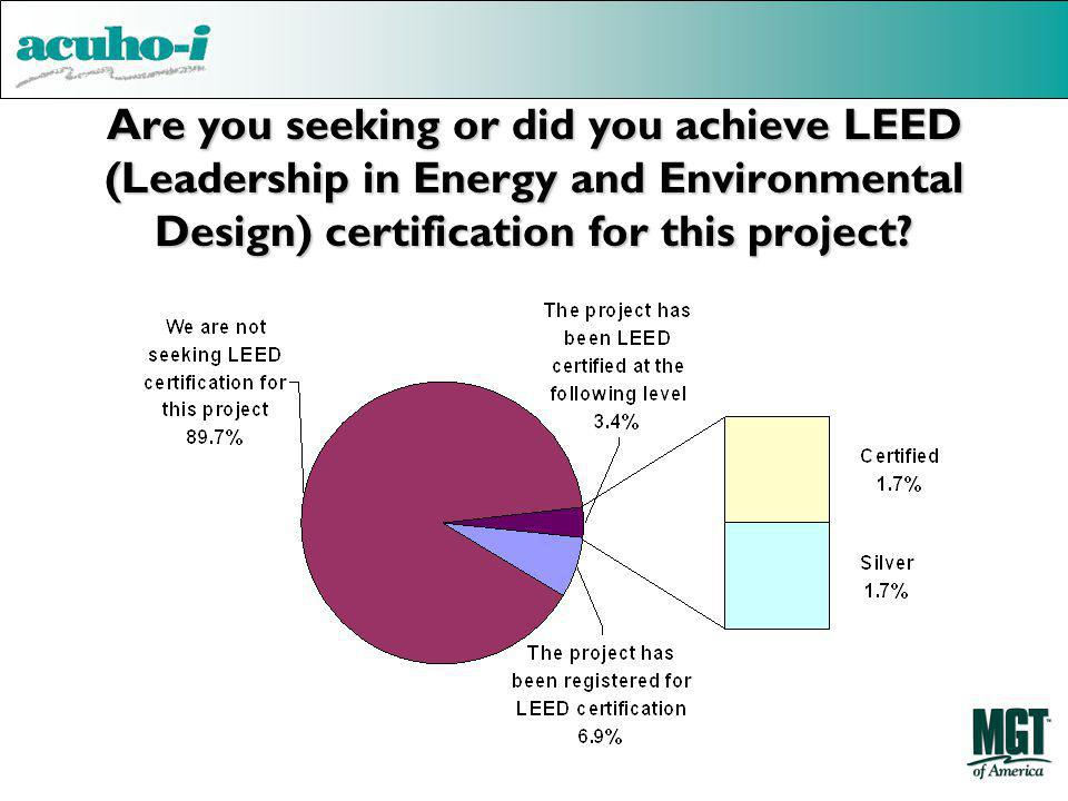 Are you seeking or did you achieve LEED (Leadership in Energy and Environmental Design) certification for this project