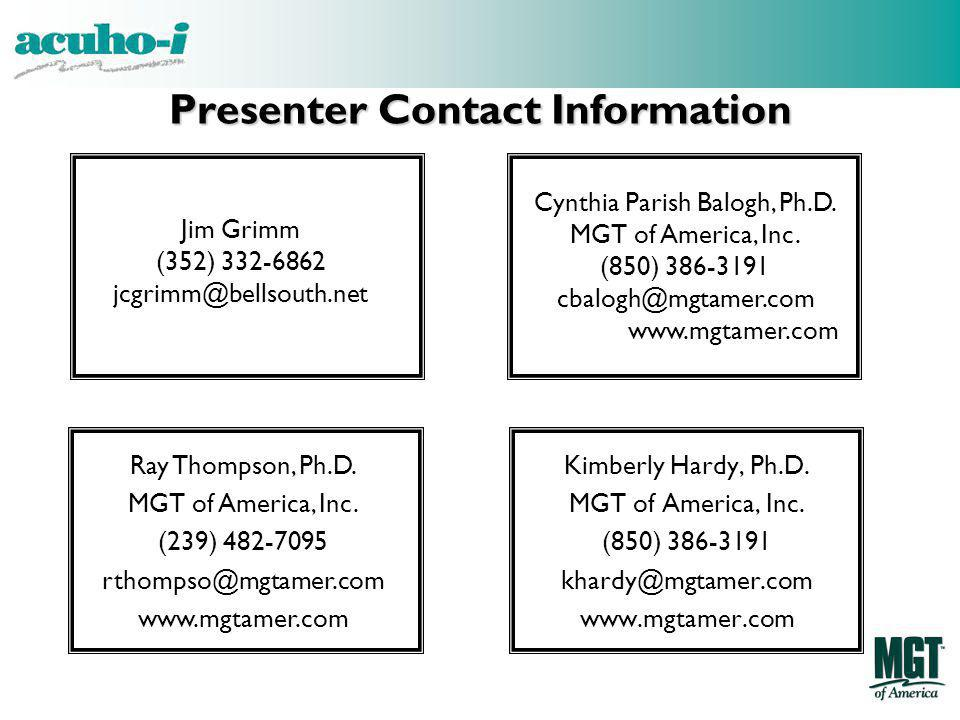 Presenter Contact Information Jim Grimm. (352) 332-6862. jcgrimm@bellsouth.net. Cynthia Parish Balogh, Ph.D.