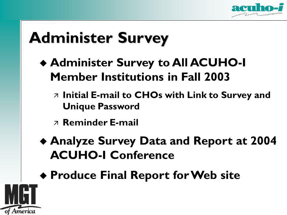 Administer Survey Administer Survey to All ACUHO-I Member Institutions in Fall 2003. Initial E-mail to CHOs with Link to Survey and Unique Password.