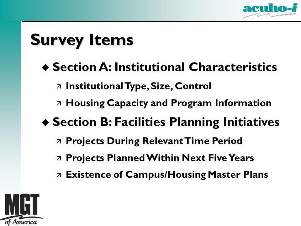 Survey Items Section A: Institutional Characteristics