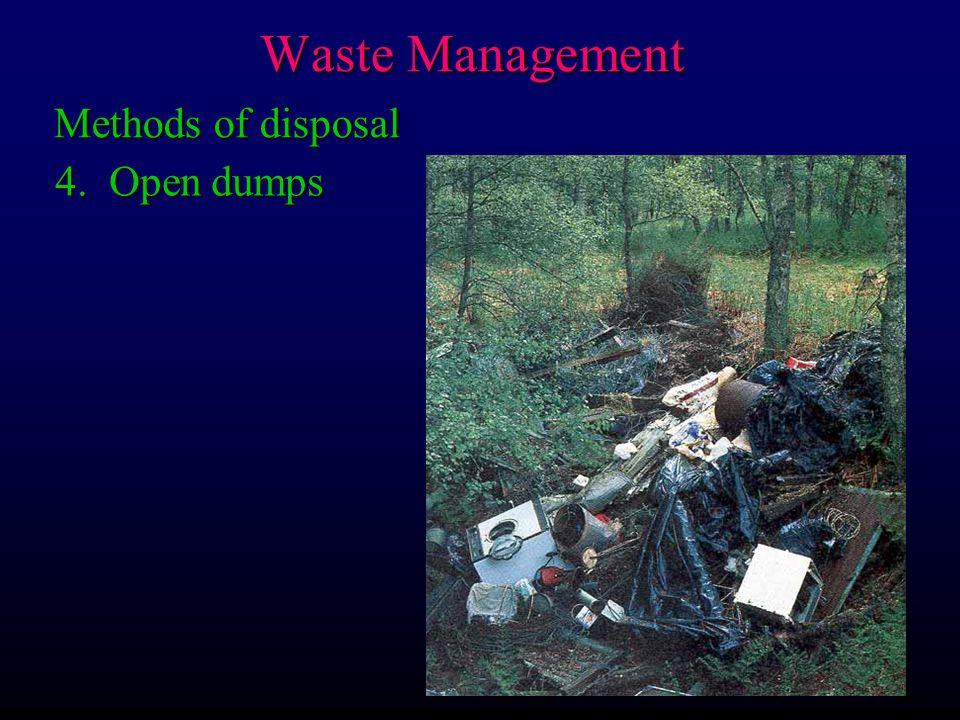 Waste Management Methods of disposal 4. Open dumps