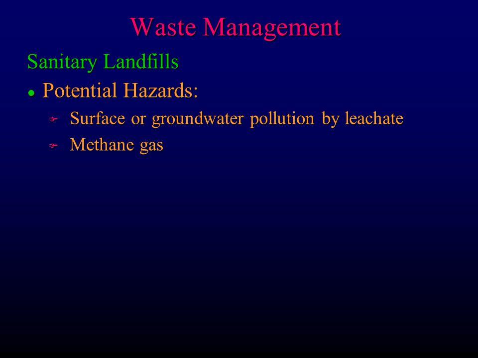 Waste Management Sanitary Landfills Potential Hazards: