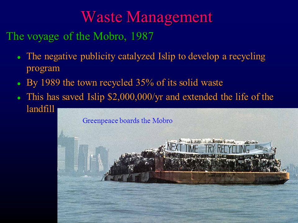 Waste Management The voyage of the Mobro, 1987