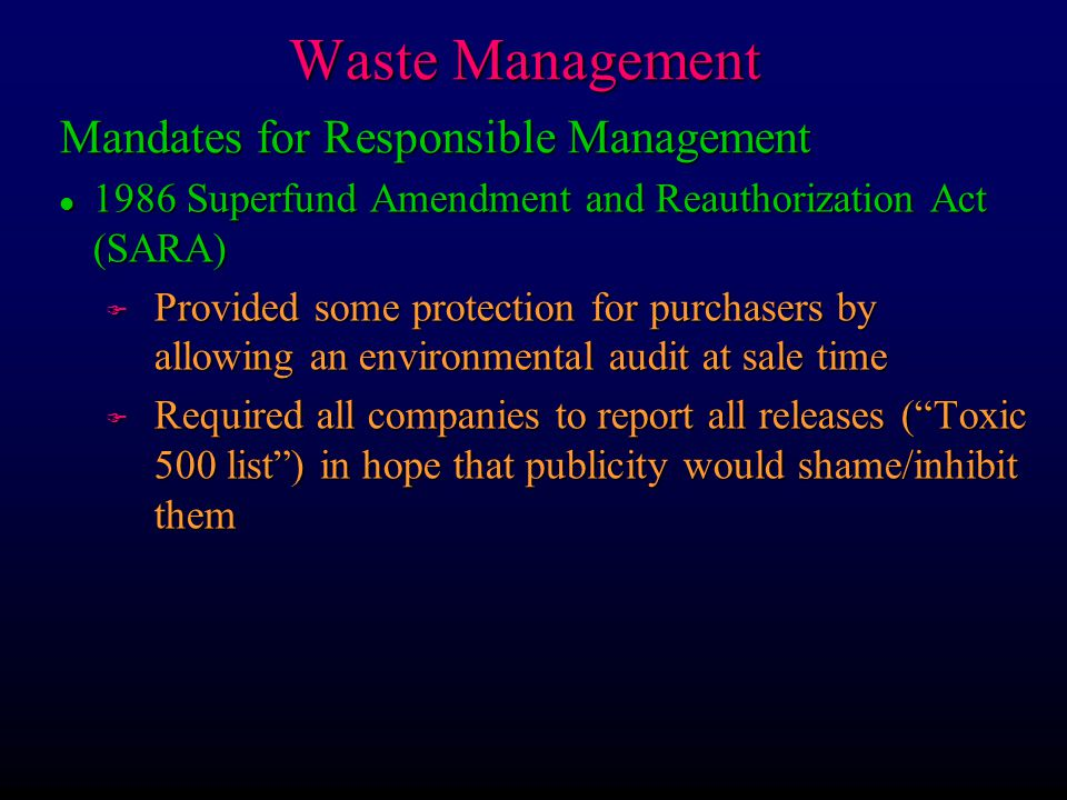 Waste Management Mandates for Responsible Management