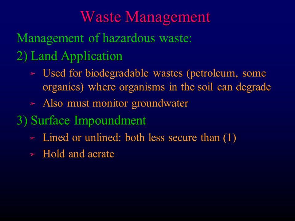 Waste Management Management of hazardous waste: 2) Land Application