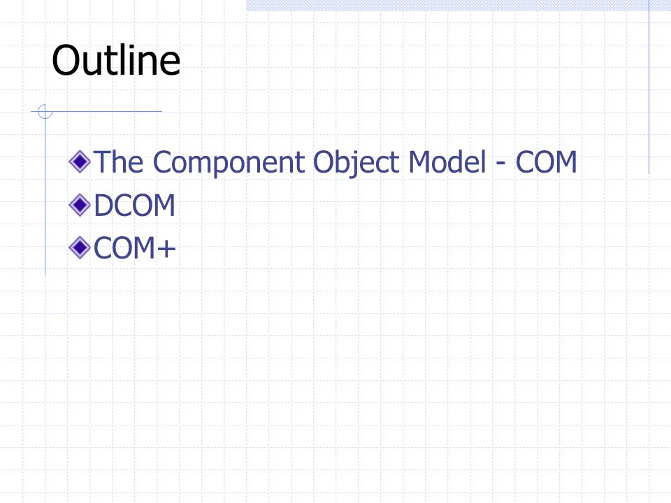 Outline The Component Object Model - COM DCOM COM+