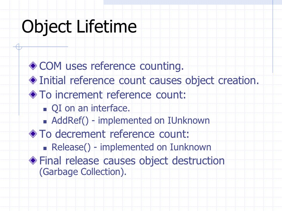 Object Lifetime COM uses reference counting.