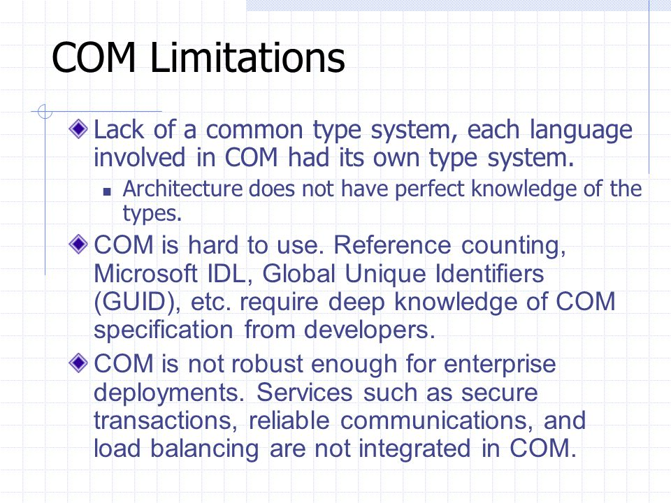 COM Limitations Lack of a common type system, each language involved in COM had its own type system.