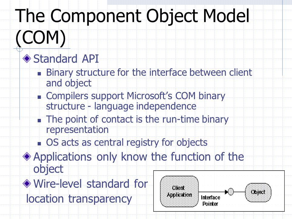 The Component Object Model (COM)