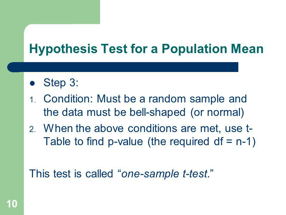Hypothesis Test for a Population Mean