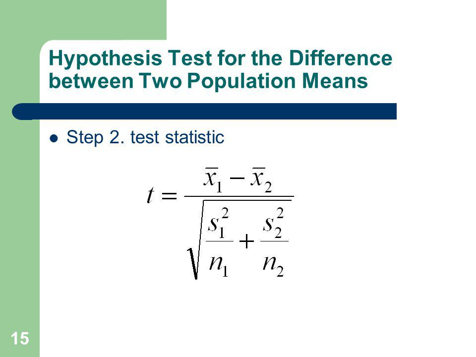 Hypothesis Test for the Difference between Two Population Means