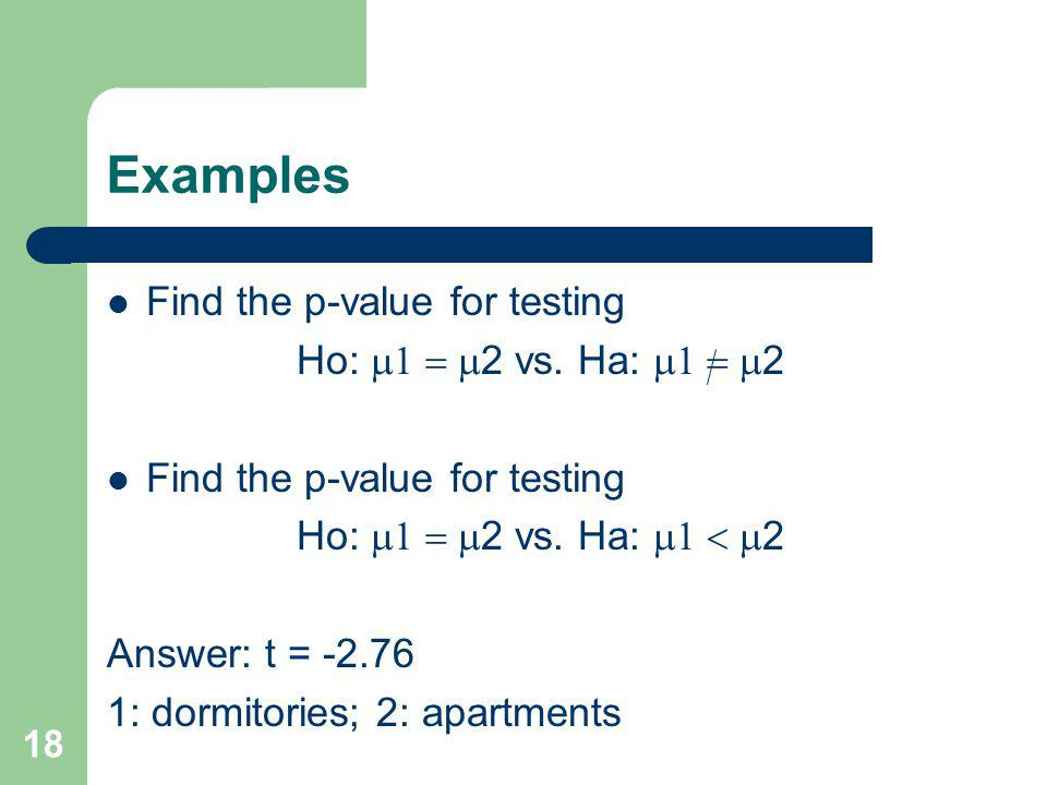 Examples Find the p-value for testing Ho: m1 = m2 vs. Ha: m1 = m2