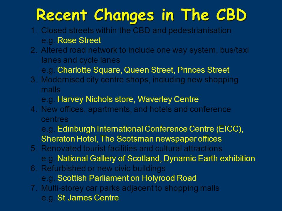 Recent Changes in The CBD