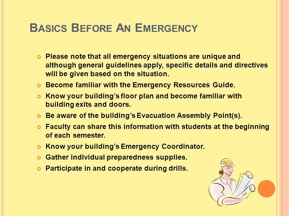 Basics Before An Emergency