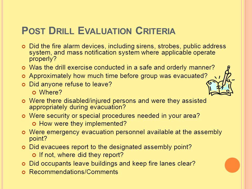 Post Drill Evaluation Criteria