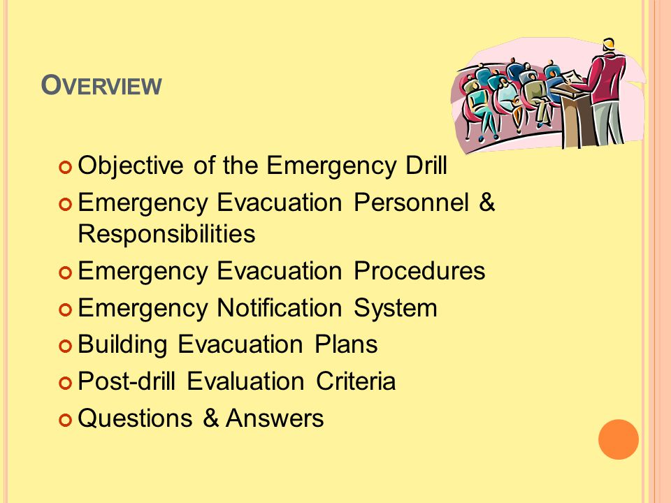 Overview Objective of the Emergency Drill