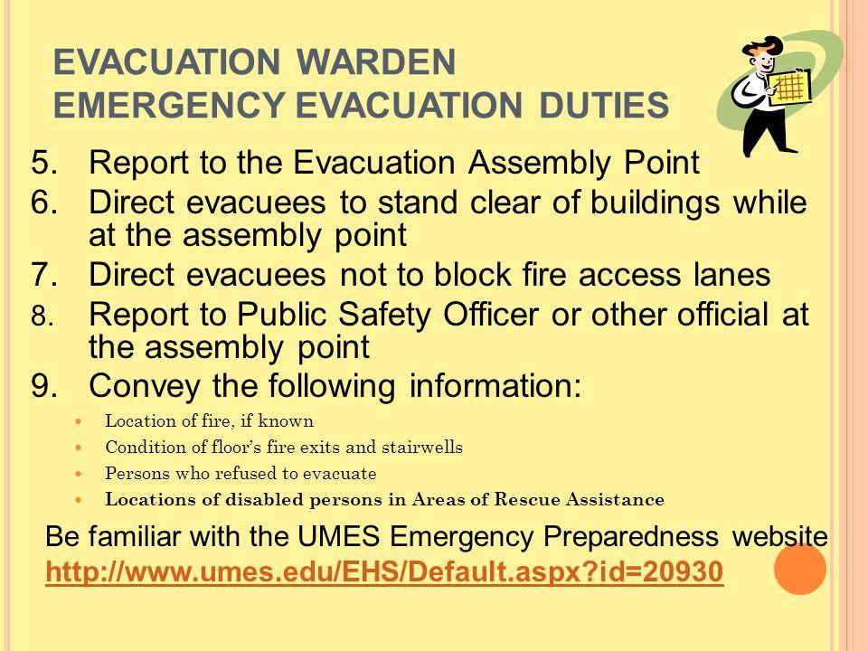 EVACUATION WARDEN EMERGENCY EVACUATION DUTIES