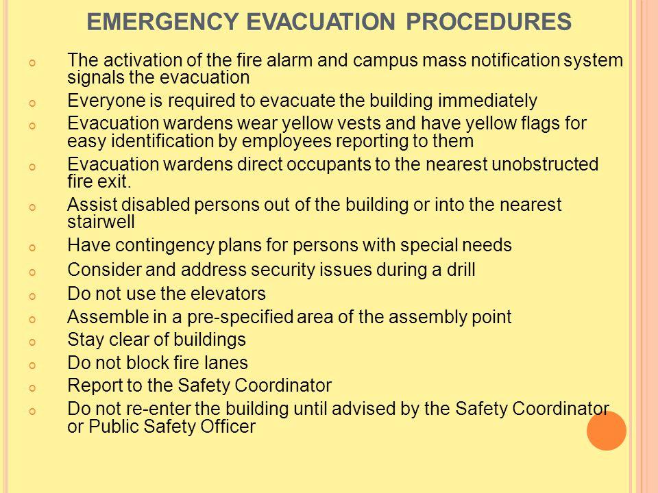 EMERGENCY EVACUATION PROCEDURES