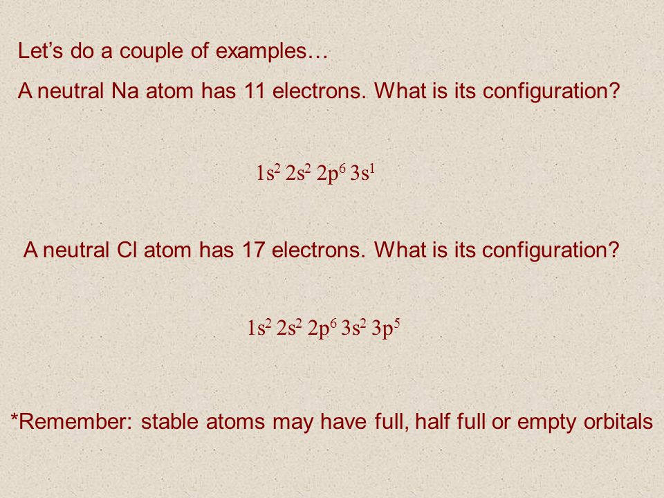 *Remember: stable atoms may have full, half full or empty orbitals