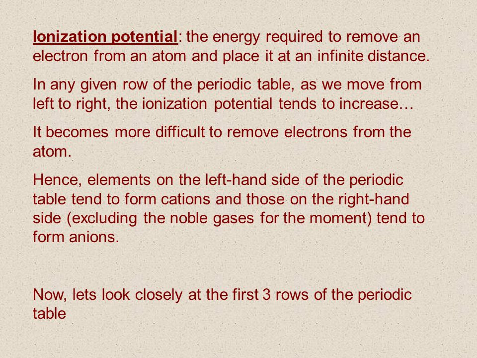 Ionization potential: the energy required to remove an electron from an atom and place it at an infinite distance.
