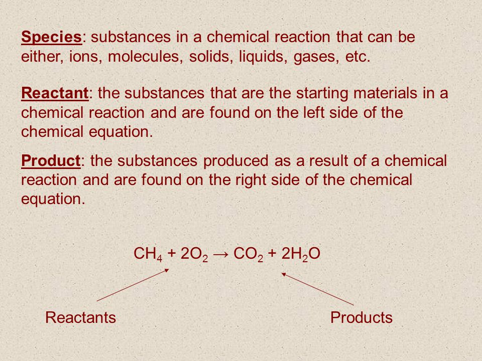 Species: substances in a chemical reaction that can be either, ions, molecules, solids, liquids, gases, etc.