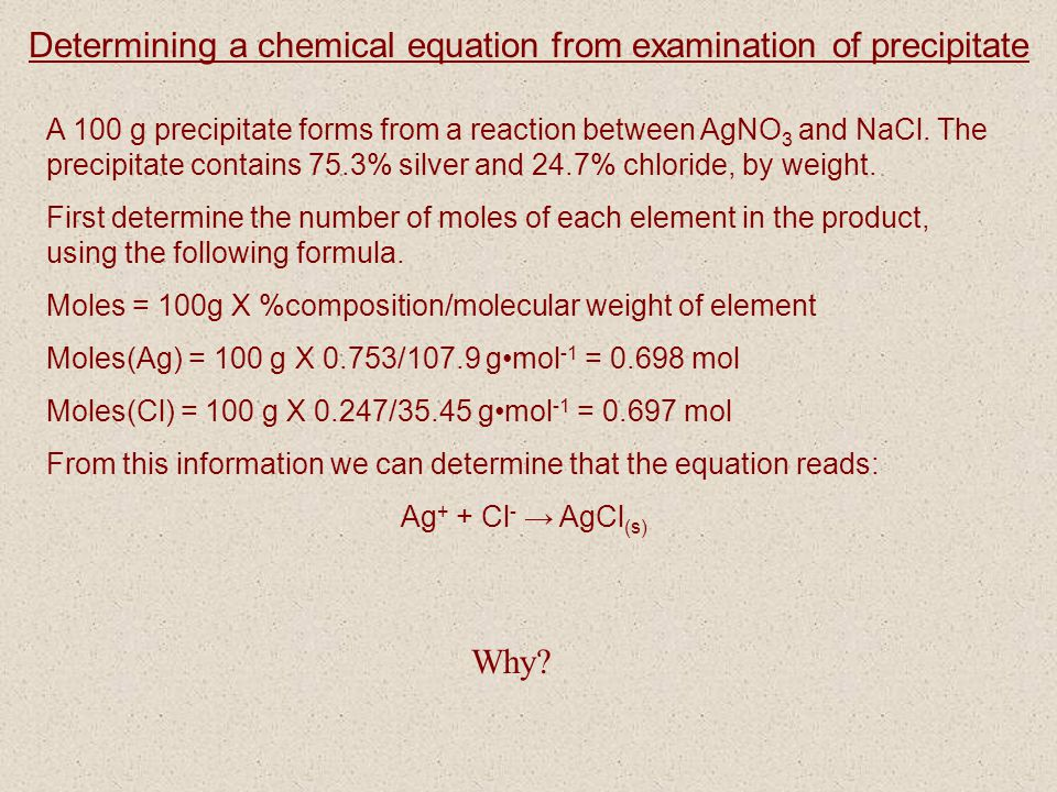 Determining a chemical equation from examination of precipitate