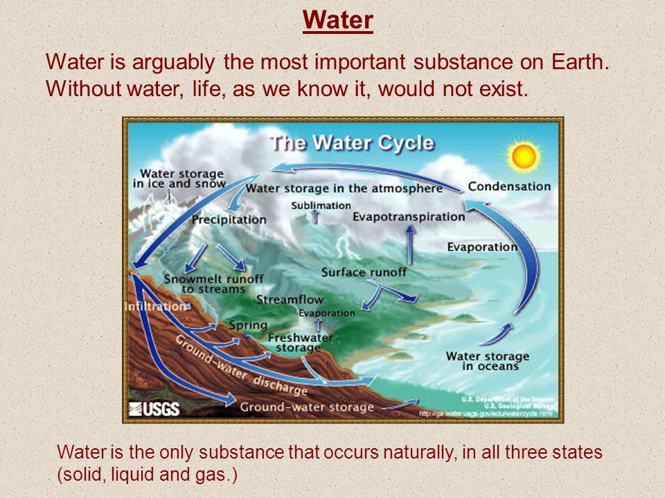 Water Water is arguably the most important substance on Earth. Without water, life, as we know it, would not exist.