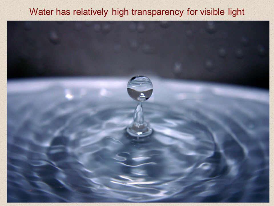 Water has relatively high transparency for visible light