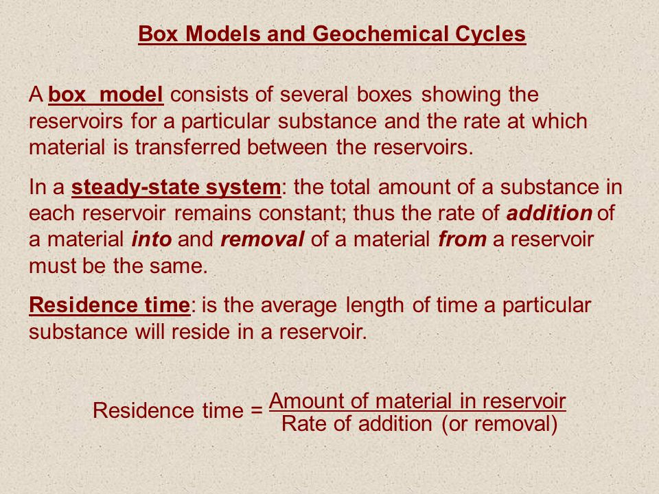 Box Models and Geochemical Cycles