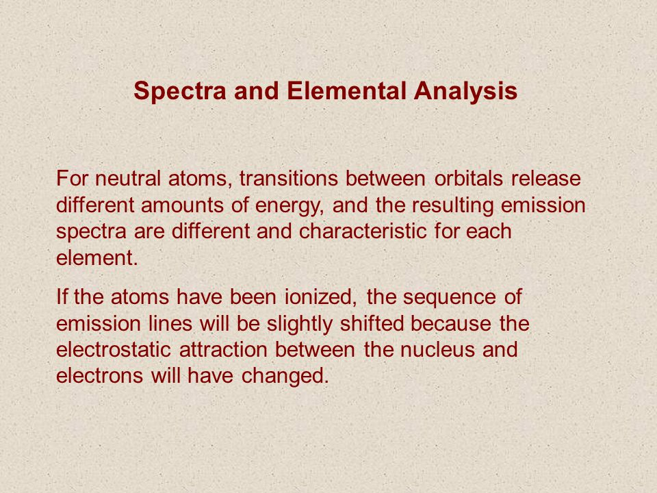 Spectra and Elemental Analysis
