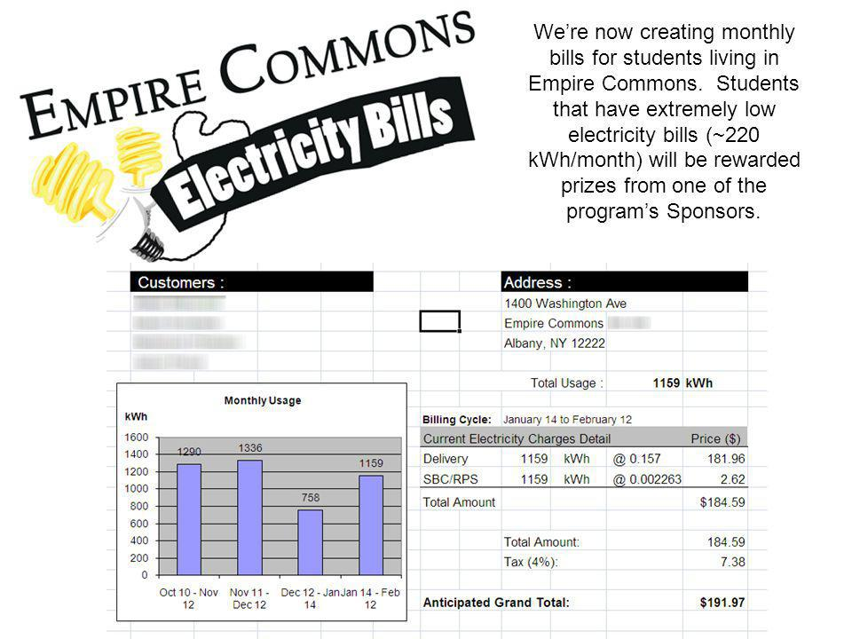 We're now creating monthly bills for students living in Empire Commons