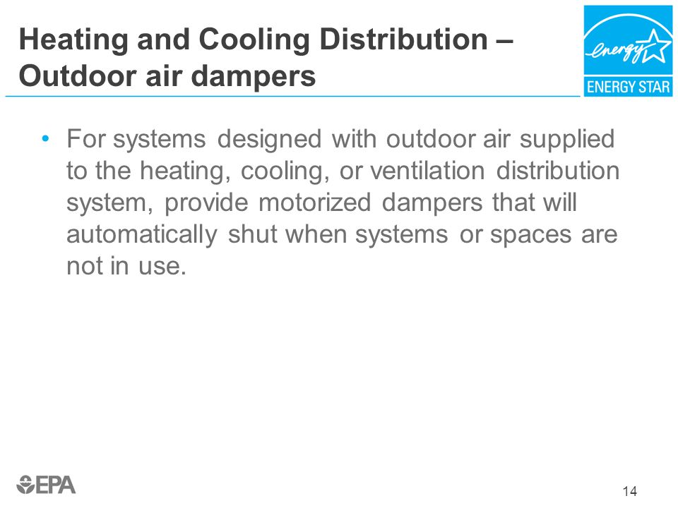 Heating and Cooling Distribution – Outdoor air dampers