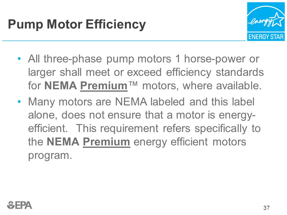 Pump Motor Efficiency