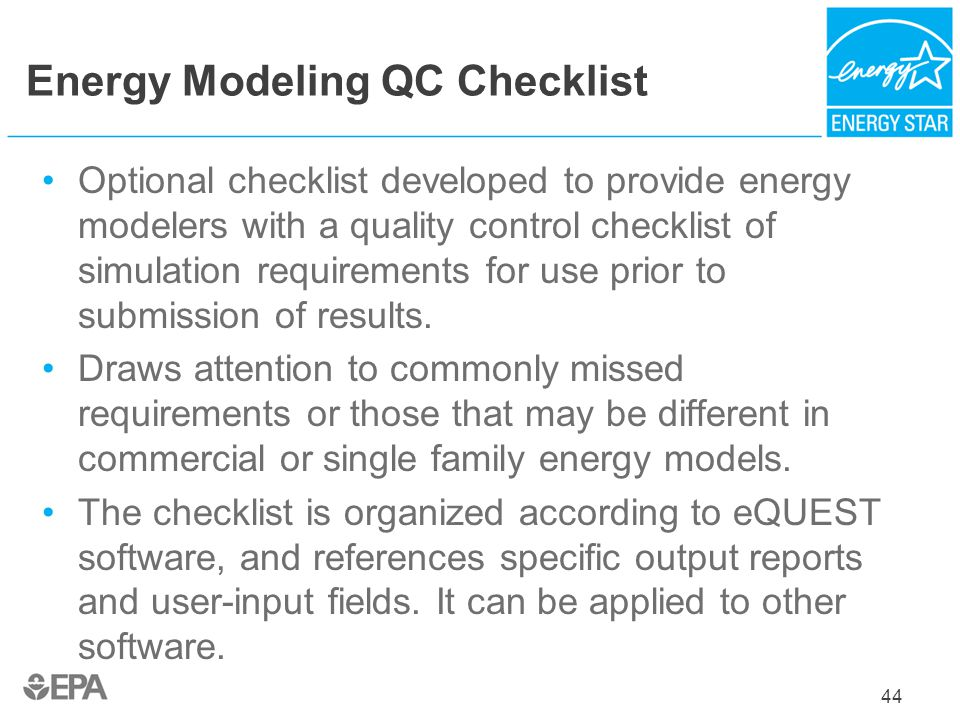 Energy Modeling QC Checklist