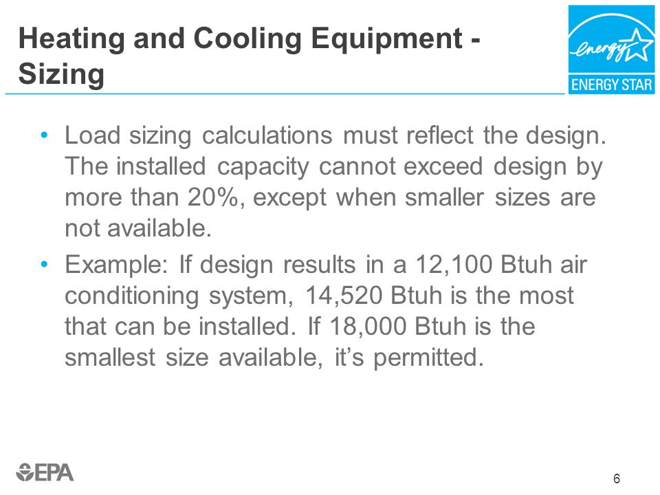 Heating and Cooling Equipment - Sizing
