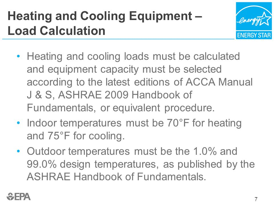 Heating and Cooling Equipment – Load Calculation