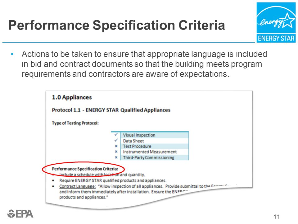 Performance Specification Criteria