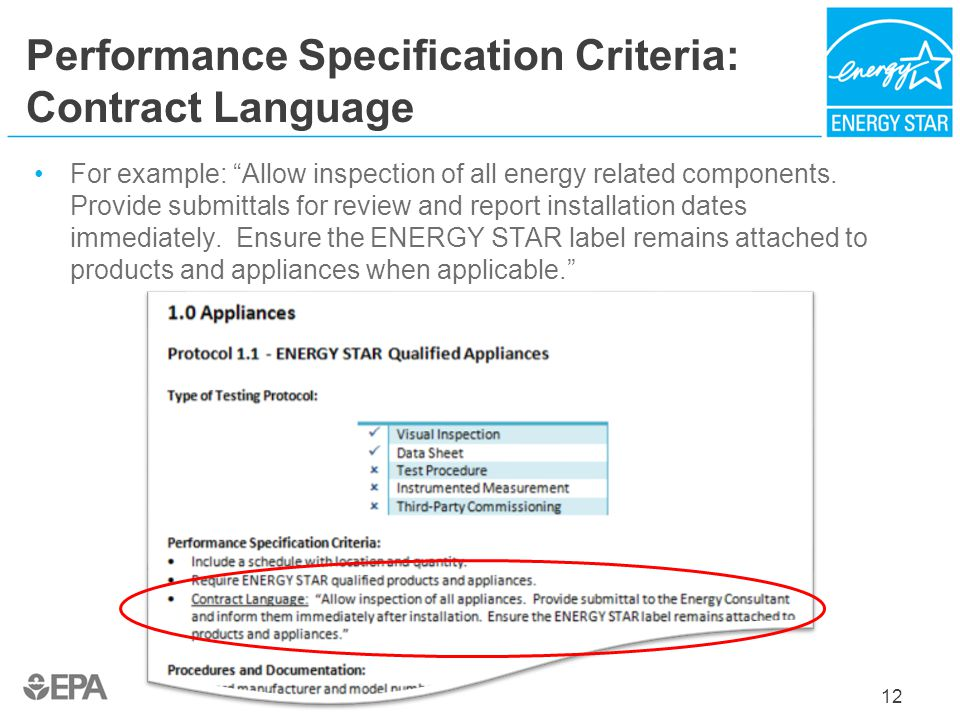 Performance Specification Criteria: Contract Language