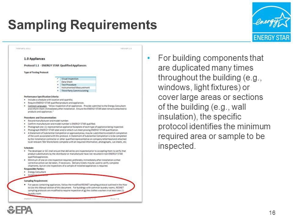 Sampling Requirements