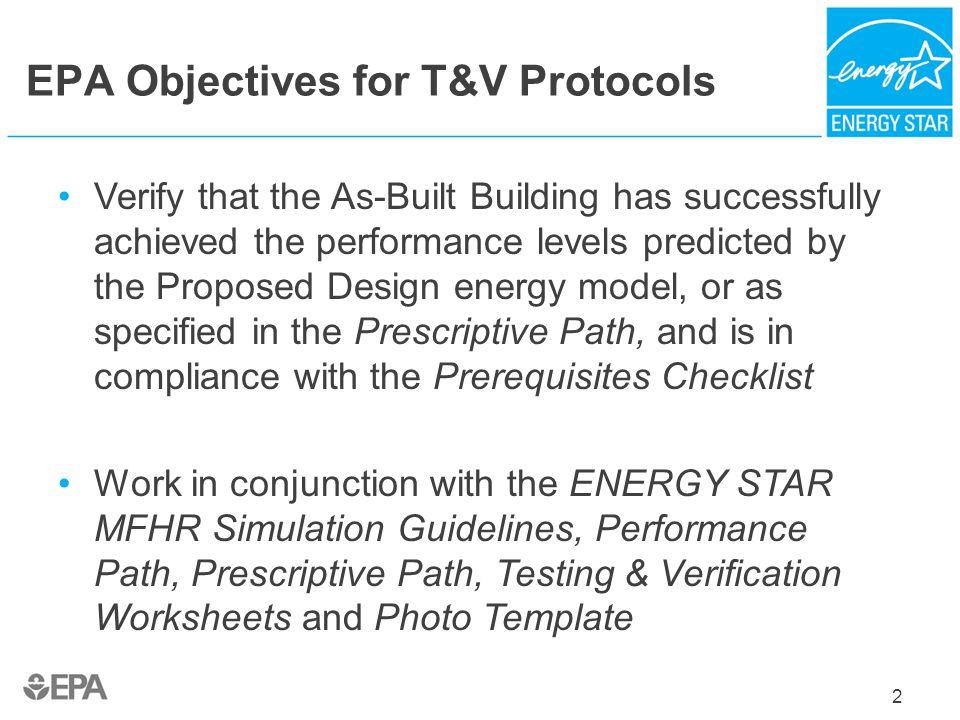 EPA Objectives for T&V Protocols