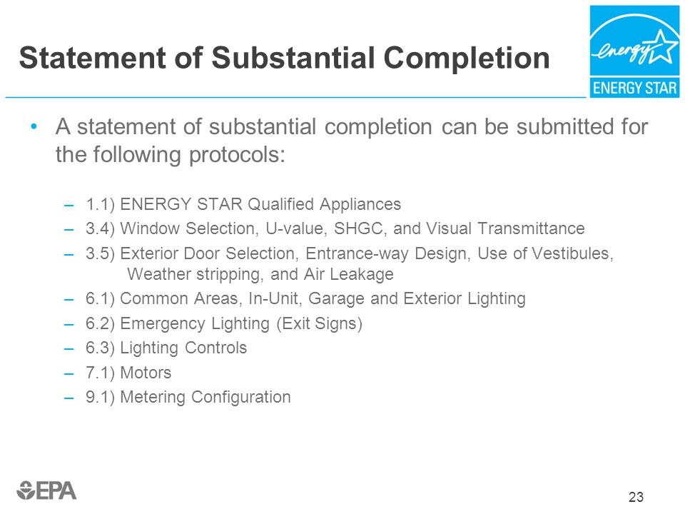 Statement of Substantial Completion