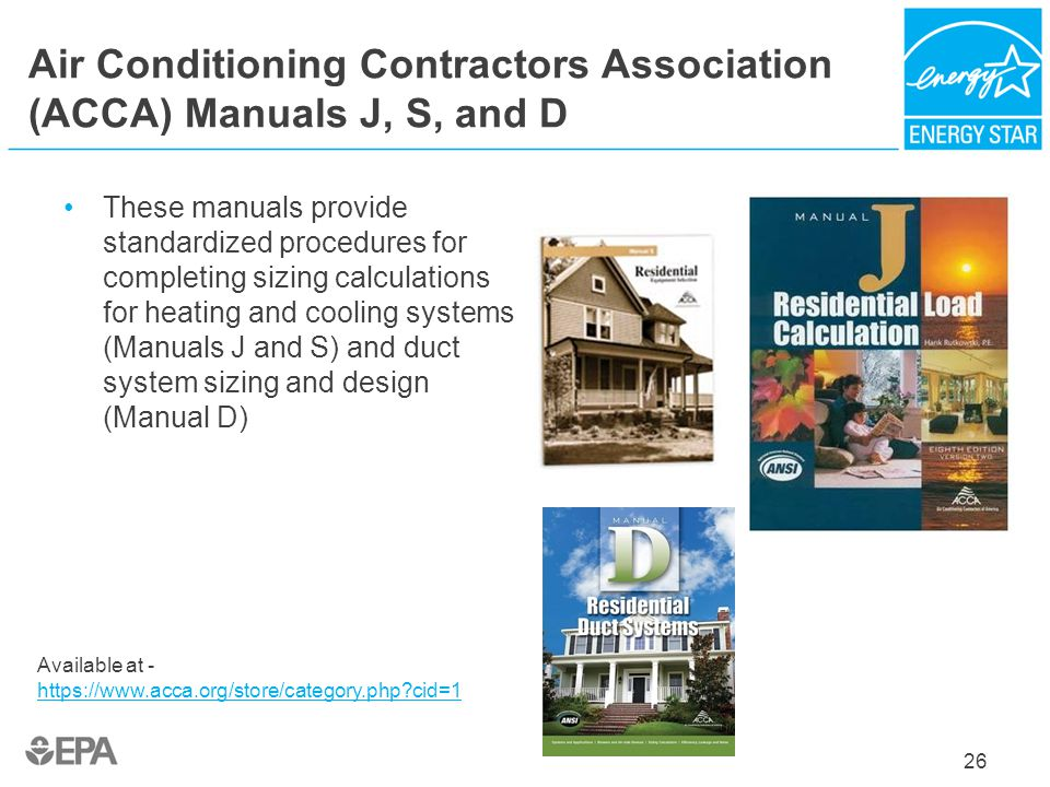 Air Conditioning Contractors Association (ACCA) Manuals J, S, and D