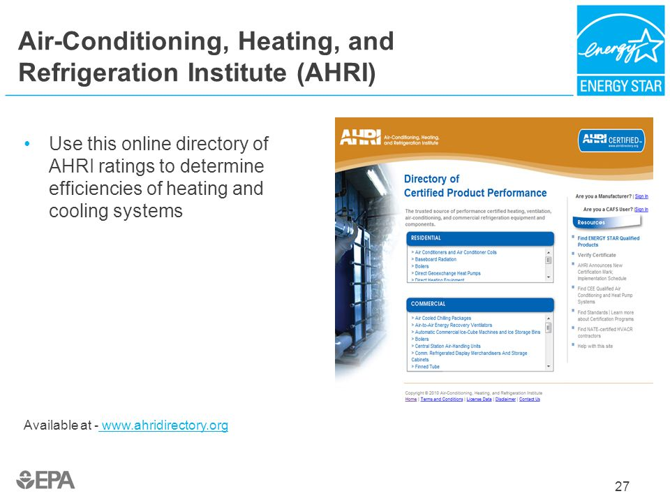 Air-Conditioning, Heating, and Refrigeration Institute (AHRI)