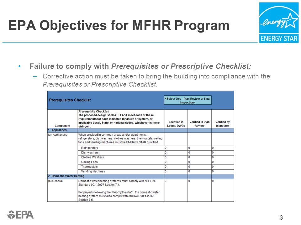 EPA Objectives for MFHR Program