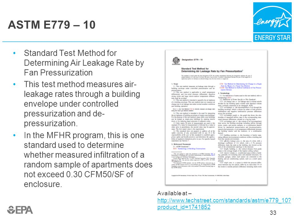 ASTM E779 – 10 Standard Test Method for Determining Air Leakage Rate by Fan Pressurization.