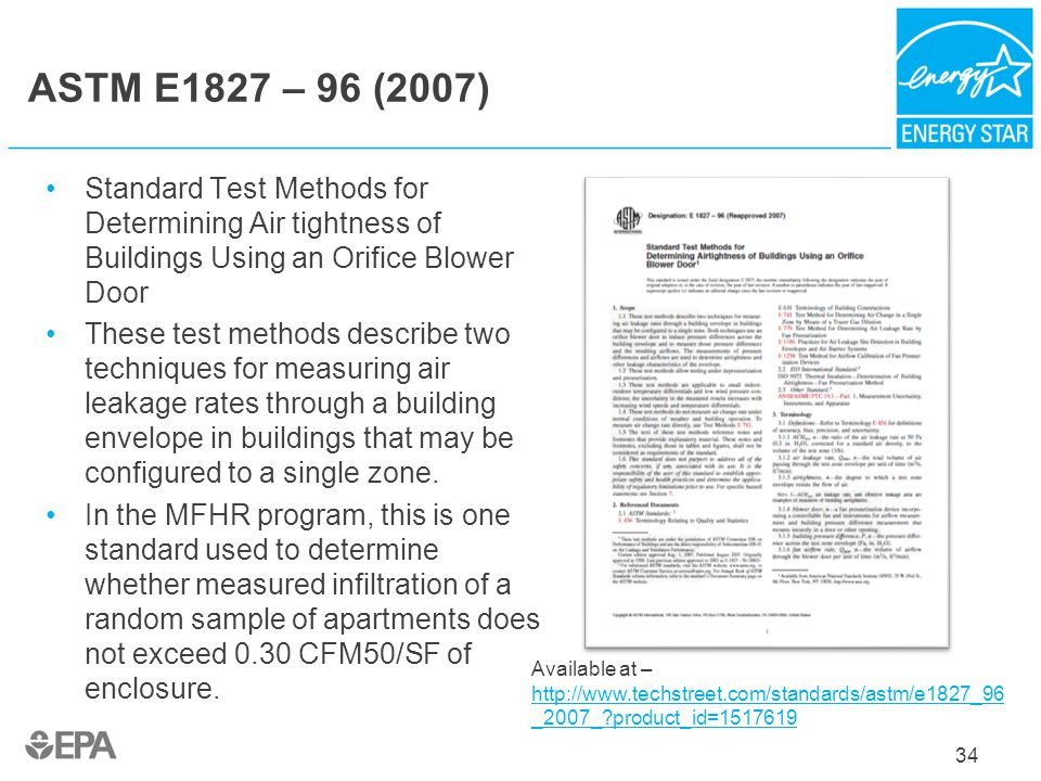 ASTM E1827 – 96 (2007) Standard Test Methods for Determining Air tightness of Buildings Using an Orifice Blower Door.