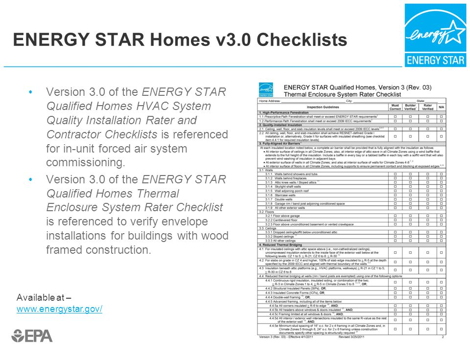 ENERGY STAR Homes v3.0 Checklists