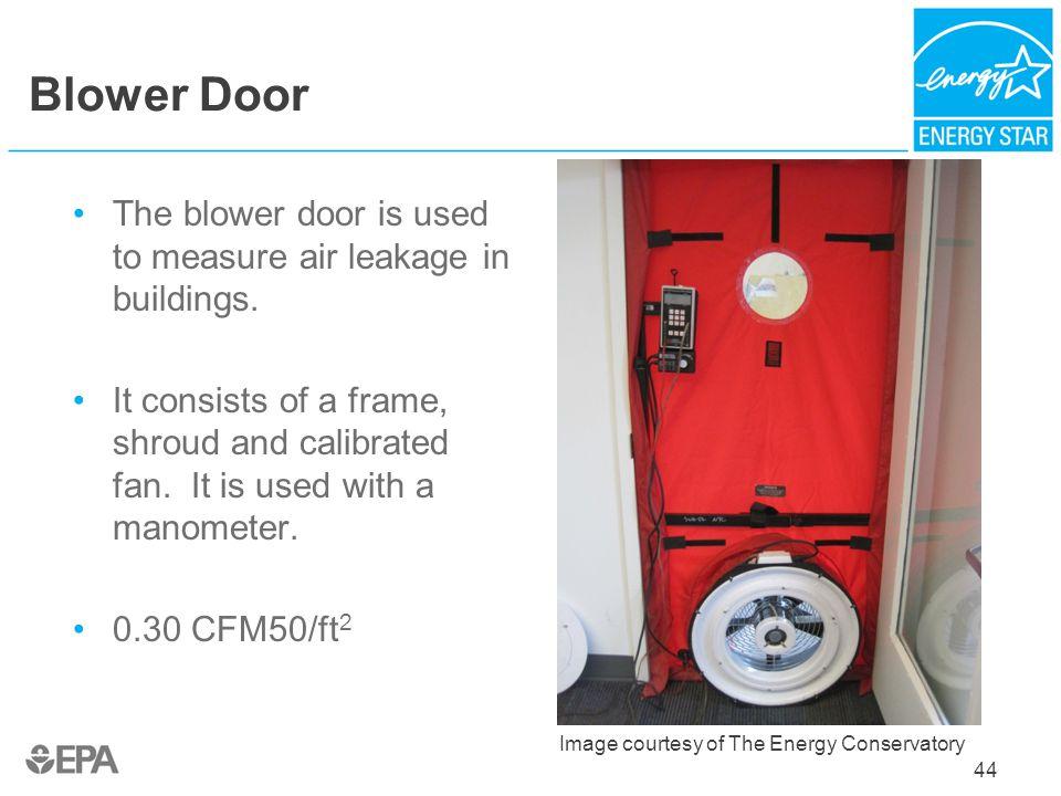 Blower Door The blower door is used to measure air leakage in buildings.