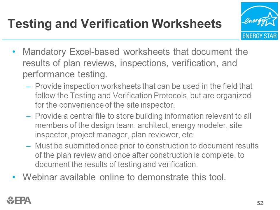 Testing and Verification Worksheets